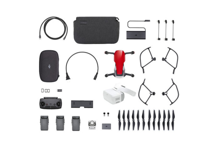 DJI MAVIC AIR FLY MORE COMBO ROSSO + GOGGLES